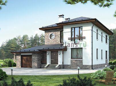 Проект двухэтажного дома 23x14 метров, общей площадью 279 м2, из керамических блоков, c гаражом, террасой, котельной и кухней-столовой