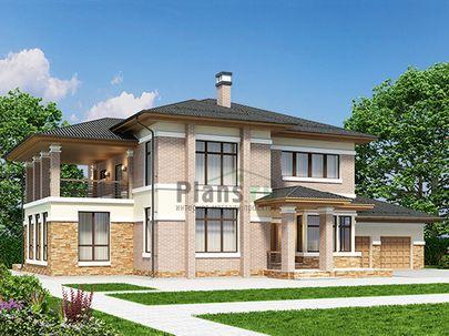 Проект двухэтажного дома 23x14 метров, общей площадью 298 м2, из керамических блоков, c гаражом, зимним садом, террасой, котельной и кухней-столовой