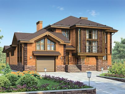 Проект двухэтажного дома 23x15 метров, общей площадью 309 м2, из керамических блоков, c бассейном, террасой, котельной и кухней-столовой
