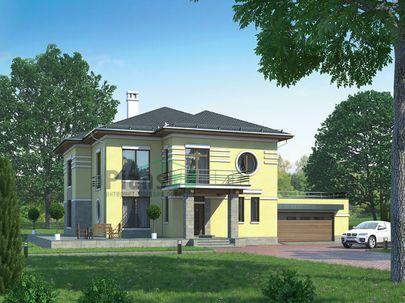 Проект двухэтажного дома 23x17 метров, общей площадью 299 м2, из керамических блоков, c гаражом, котельной и кухней-столовой