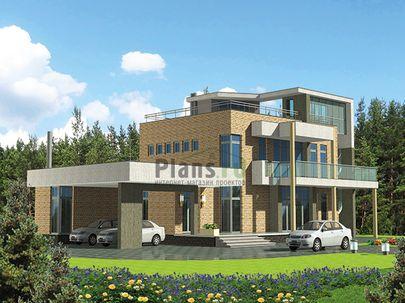 Проект двухэтажного дома 23x18 метров, общей площадью 266 м2, из керамических блоков, со вторым светом, c бассейном, террасой, котельной и кухней-столовой