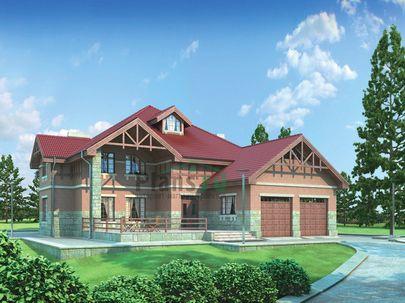 Проект двухэтажного дома 23x18 метров, общей площадью 392 м2, из керамических блоков, c гаражом, террасой, котельной и кухней-столовой