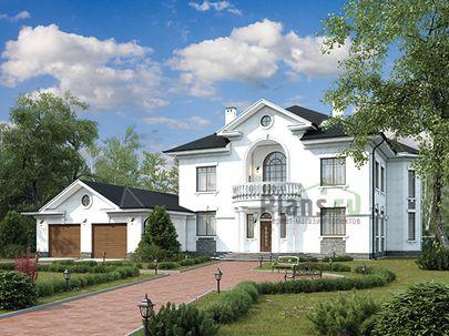Проект двухэтажного дома 24x16 метров, общей площадью 387 м2, из керамических блоков, c гаражом, котельной и кухней-столовой