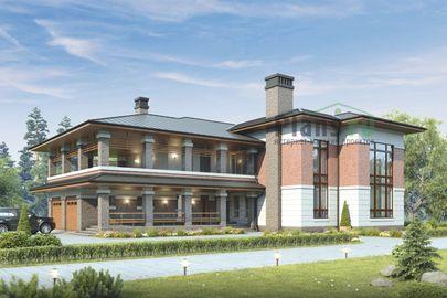 Проект двухэтажного дома 24x20 метров, общей площадью 339 м2, из керамических блоков, со вторым светом, c гаражом, котельной и кухней-столовой