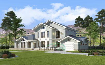 Проект двухэтажного дома 25x13 метров, общей площадью 372 м2, из керамических блоков, c гаражом, бассейном, террасой, котельной и кухней-столовой