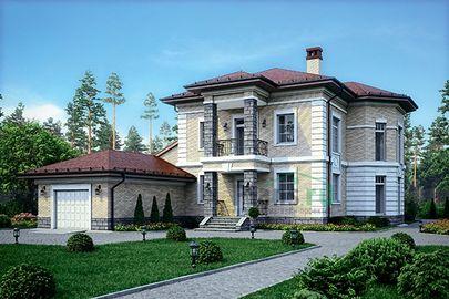 Проект двухэтажного дома 25x16 метров, общей площадью 286 м2, из керамических блоков, со вторым светом, c гаражом, террасой, котельной и кухней-столовой