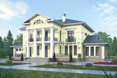 Проект двухэтажного дома 26x19 метров, общей площадью 386 м2, из керамических блоков, c бассейном, зимним садом, котельной и кухней-столовой