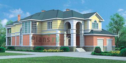 Проект двухэтажного дома 27x15 метров, общей площадью 449 м2, из керамических блоков, со вторым светом, c гаражом, террасой и котельной
