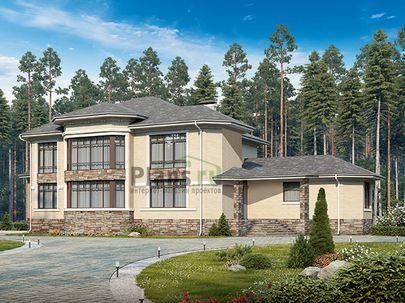 Проект двухэтажного дома 27x16 метров, общей площадью 379 м2, из керамических блоков, c гаражом, террасой, котельной и кухней-столовой