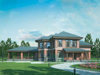 Проект двухэтажного дома 27x23 метров, общей площадью 336 м2, из керамических блоков, со вторым светом, c бассейном, котельной и кухней-столовой
