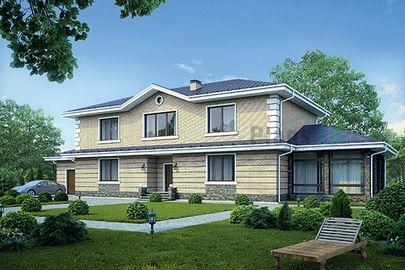 Проект двухэтажного дома 28x10 метров, общей площадью 315 м2, из керамических блоков, c гаражом, котельной, лоджией и кухней-столовой