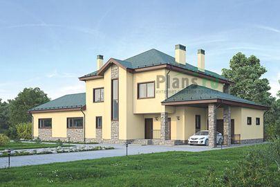 Проект двухэтажного дома 28x16 метров, общей площадью 304 м2, из керамических блоков, c гаражом, бассейном, котельной и кухней-столовой