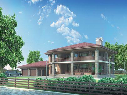 Проект двухэтажного дома 33x17 метров, общей площадью 244 м2, из керамических блоков, c гаражом, террасой и котельной
