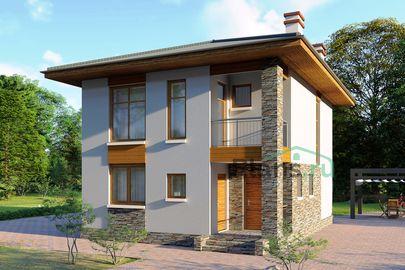Проект двухэтажного дома 8x10 метров, общей площадью 114 м2, из кирпича, c террасой, котельной и кухней-столовой