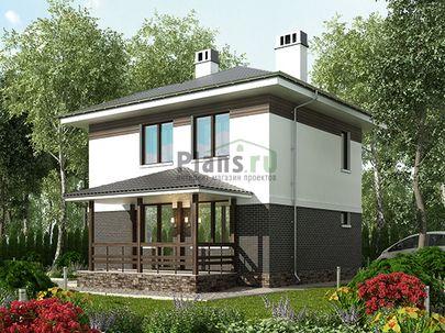 Проект двухэтажного дома 8x10 метров, общей площадью 74 м2, из керамических блоков, c террасой, котельной и кухней-столовой