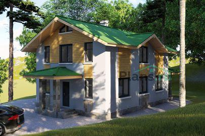 Проект двухэтажного дома 8x11 метров, общей площадью 138 м2, из кирпича, c террасой, котельной и кухней-столовой