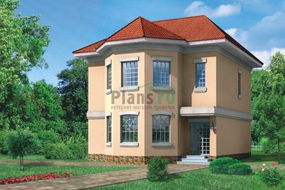 Проект двухэтажного дома 8x11 метров, общей площадью 197 м2, из кирпича, c котельной