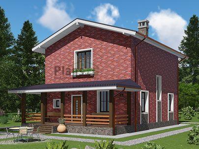 Проект двухэтажного дома 8x12 метров, общей площадью 111 м2, из газобетона (пеноблоков), c террасой, котельной и кухней-столовой