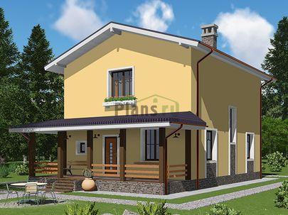 Проект двухэтажного дома 8x12 метров, общей площадью 114 м2, из газобетона (пеноблоков), c террасой, котельной и кухней-столовой