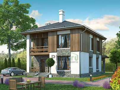 Проект двухэтажного дома 8x13 метров, общей площадью 121 м2, из керамических блоков, со вторым светом, c террасой, котельной и кухней-столовой