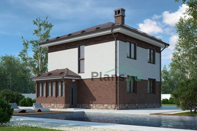 Проект двухэтажного дома 8x7 метров, общей площадью 87 м2, из газобетона (пеноблоков), c террасой и кухней-столовой
