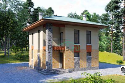Проект двухэтажного дома 8x8 метров, общей площадью 87 м2, из кирпича, c террасой, котельной и кухней-столовой
