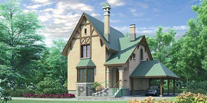 Проект двухэтажного дома 8x9 метров, общей площадью 143 м2, из газобетона (пеноблоков), c котельной
