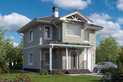 Проект двухэтажного дома 8x9 метров, общей площадью 82 м2, из керамических блоков, c гаражом и террасой