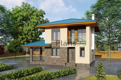 Проект двухэтажного дома 8x9 метров, общей площадью 86 м2, из кирпича, c террасой, котельной и кухней-столовой
