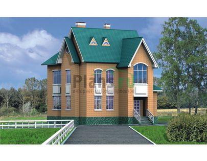 Проект двухэтажного дома 9x11 метров, общей площадью 129 м2, из кирпича, c кухней-столовой
