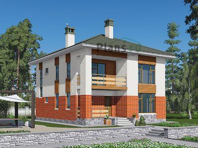 Проект двухэтажного дома 9x11 метров, общей площадью 148 м2, из газобетона (пеноблоков), c террасой, котельной, лоджией и кухней-столовой