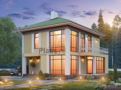 Проект двухэтажного дома 9x13 метров, общей площадью 126 м2, из керамических блоков, c зимним садом, террасой, котельной и кухней-столовой