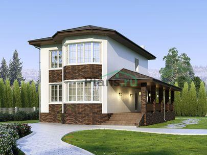 Проект двухэтажного дома 9x15 метров, общей площадью 133 м2, из керамических блоков, c террасой, котельной и кухней-столовой