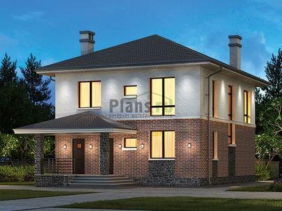 Проект двухэтажного дома 9x16 метров, общей площадью 150 м2, из газобетона (пеноблоков), c террасой, котельной и кухней-столовой