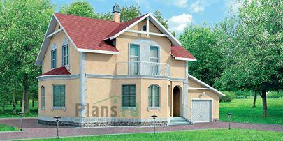 Проект двухэтажного дома 9x8 метров, общей площадью 176 м2, из газобетона (пеноблоков), c гаражом и кухней-столовой