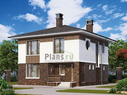 Проект двухэтажного дома 9x9 метров, общей площадью 105 м2, из кирпича, c террасой, котельной и кухней-столовой
