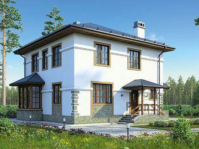 Проект двухэтажного дома 9x9 метров, общей площадью 140 м2, из газобетона (пеноблоков), c котельной и кухней-столовой