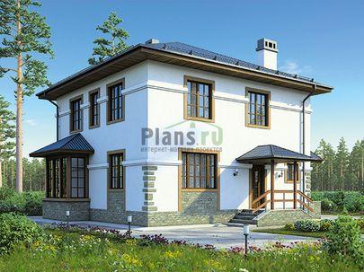 Проект двухэтажного дома 9x9 метров, общей площадью 140 м2, из кирпича, c котельной и кухней-столовой