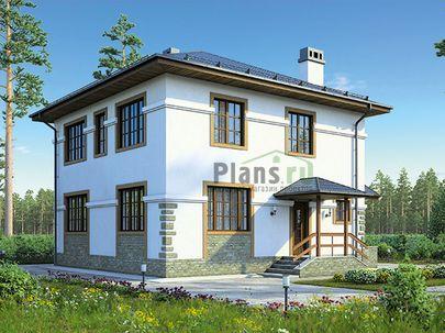 Проект двухэтажного дома 9x9 метров, общей площадью 142 м2, из газобетона (пеноблоков), c котельной и кухней-столовой