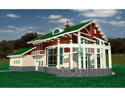 Проект двухэтажного дома, общей площадью 307 м2, из керамических блоков, c гаражом, террасой и котельной