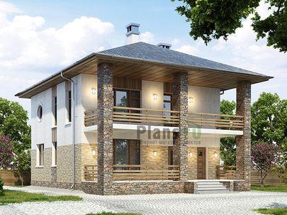 Проект двухэтажного дома с мансардой 10x14 метров, общей площадью 231 м2, из керамических блоков, c террасой, котельной и кухней-столовой