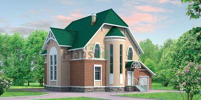 Проект двухэтажного дома с мансардой 10x14 метров, общей площадью 243 м2, из газобетона (пеноблоков), со вторым светом, c гаражом и кухней-столовой