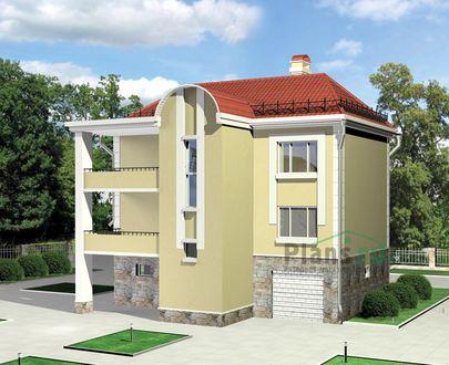Проект двухэтажного дома с мансардой 11x10 метров, общей площадью 250 м2, из газобетона (пеноблоков), c гаражом, бассейном, террасой, котельной и кухней-столовой