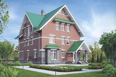 Проект двухэтажного дома с мансардой 11x15 метров, общей площадью 379 м2, из керамических блоков, c котельной и кухней-столовой