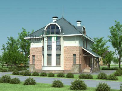 Проект двухэтажного дома с мансардой 12x12 метров, общей площадью 232 м2, из газобетона (пеноблоков), c кухней-столовой