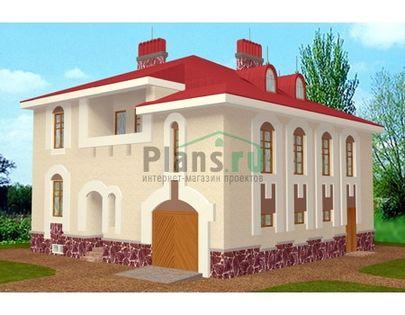 Проект двухэтажного дома с мансардой 12x12 метров, общей площадью 301 м2, из керамических блоков, c гаражом, бассейном, котельной и лоджией