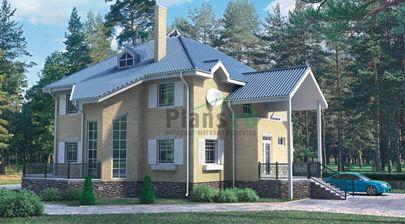 Проект двухэтажного дома с мансардой 12x14 метров, общей площадью 268 м2, из керамических блоков, c гаражом и котельной