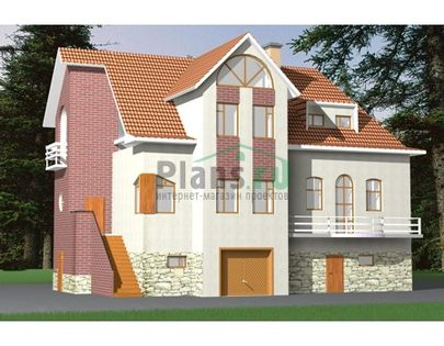 Проект двухэтажного дома с мансардой 12x9 метров, общей площадью 268 м2, из керамических блоков, c гаражом, террасой, котельной и кухней-столовой