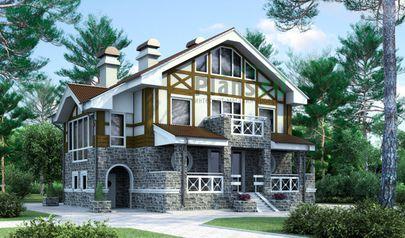 Проект двухэтажного дома с мансардой 13x11 метров, общей площадью 250 м2, из газобетона (пеноблоков), c террасой