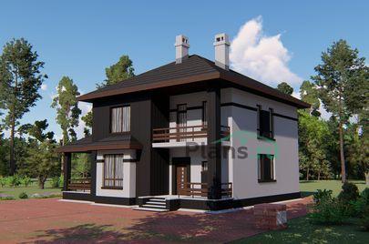 Проект двухэтажного дома с мансардой 13x12 метров, общей площадью 265 м2, из кирпича, c террасой, котельной и кухней-столовой